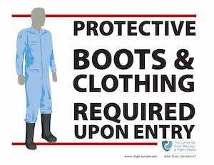 Protective boots & clothing required